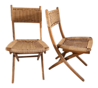 Mid-Century Yugoslavia Folding Rope Chairs - A Pair | Chairish