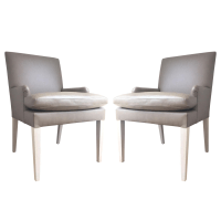 Contemporary Leather Accent Dining Chairs - Pair | Chairish
