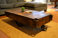 Vintage Industrial Railroad Cart Coffee Table