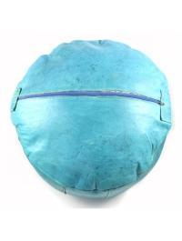 Turquoise Leather Moroccan Pouf Ottoman | Chairish