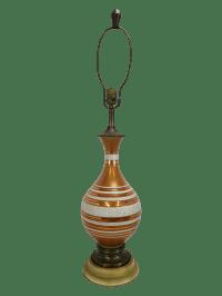 Mid Century Reversed Copper Orange Glass Lamp | Chairish