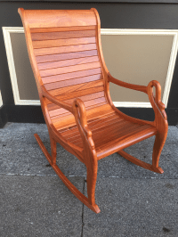 Solid Cherry Wood Rocking Chair | Chairish