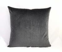 Silver Gray & Black Striped Velvet Pillow | Chairish