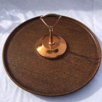 Midcentury Modern Copper and Teak Wood Lazy Susan | Chairish