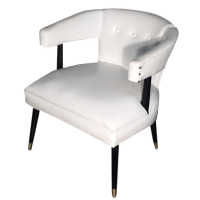 White Mid-Century Leather Accent Chair | Chairish
