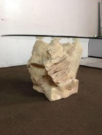 Contemporary Glass Top Rock Form Coffee Table | Chairish