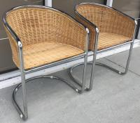 Mid-Century Wicker & Chrome Side Chairs- A Pair | Chairish