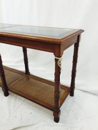 Mid-Century Cane & Glass Console | Chairish