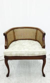 Vintage Mid-Century Cane Side Barrel Back Chair | Chairish