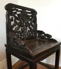 Chinese 18th Century Qing Aged Hand Carved Jumu Wood