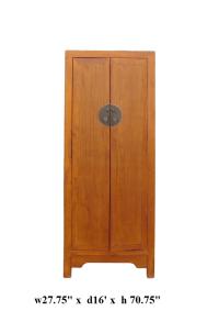 Chinese Brown Tall Narrow Storage Wardrobe Cabinet | Chairish