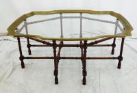 Mid-Century Brass Trimmed Glass Top Coffee Table | Chairish