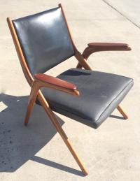 Danish Mid Century Modern Teak Scissor Chair | Chairish