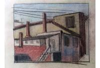 Industrial Architecture Mid Century Pastel Drawing | Chairish