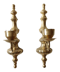 Brass Wall Sconce Candle Holders - Pair | Chairish