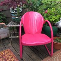 Mid-Century Pink Metal Patio Chair   Chairish