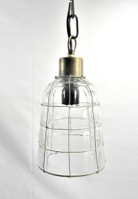 Industrial Style Glass & Wire Cage Pendant Lamp | Chairish