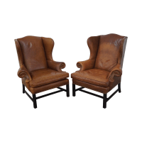 Brown Leather Chippendale Style Wing Chairs - Pair | Chairish