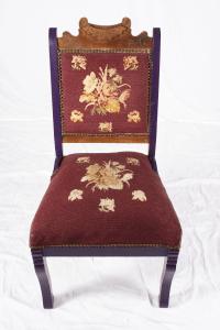 Antique Bohemian Purple Needlepoint Chair   Chairish
