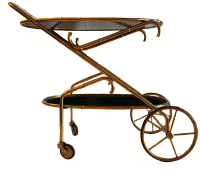 Vintage Maison Bagues French Oval Bar Cart | Chairish