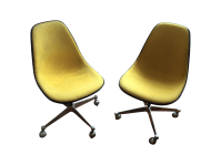 Herman Miller Yellow Hopsack Eames Chairs - A Pair | Chairish