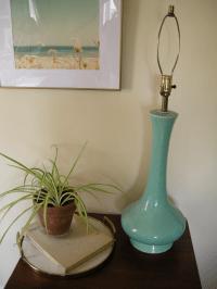 Vintage Mid-Century Modern Turquoise Table Lamp | Chairish