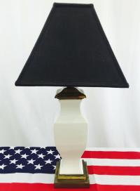 Vintage White Ceramic Lamp on Brass Base | Chairish