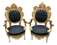 Pair of Black & Gold Italian Baroque/Rococo Style Chairs ...