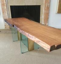 Red Oak Raw Edge & Glass Coffee Table | Chairish