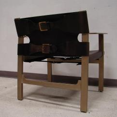 Bernhardt Brown Leather Club Chair Standing Desk Office Depot Mid-century Modern Buckle | Chairish