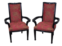 Ebonized Art Nouveau Style Arm Chairs - Pair | Chairish