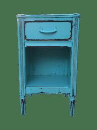 Shabby Chic Blue Nightstand   Chairish