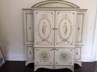 Ivory & Sage Hand-Painted Storage Cabinet | Chairish