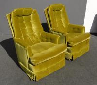 Mid Century Modern Tufted Green Velvet Swivel Chairs - a ...