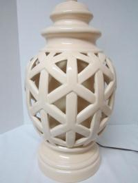 Mid-Century Porcelain Lattice Table Lamp | Chairish