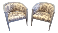 Toile Upholstered Gray Painted Tub Chairs- A Pair | Chairish