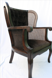 Vintage Regency Cane High Wingback Chair | Chairish