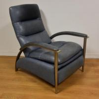 Ethan Allen Modern Leather Recliner | Chairish