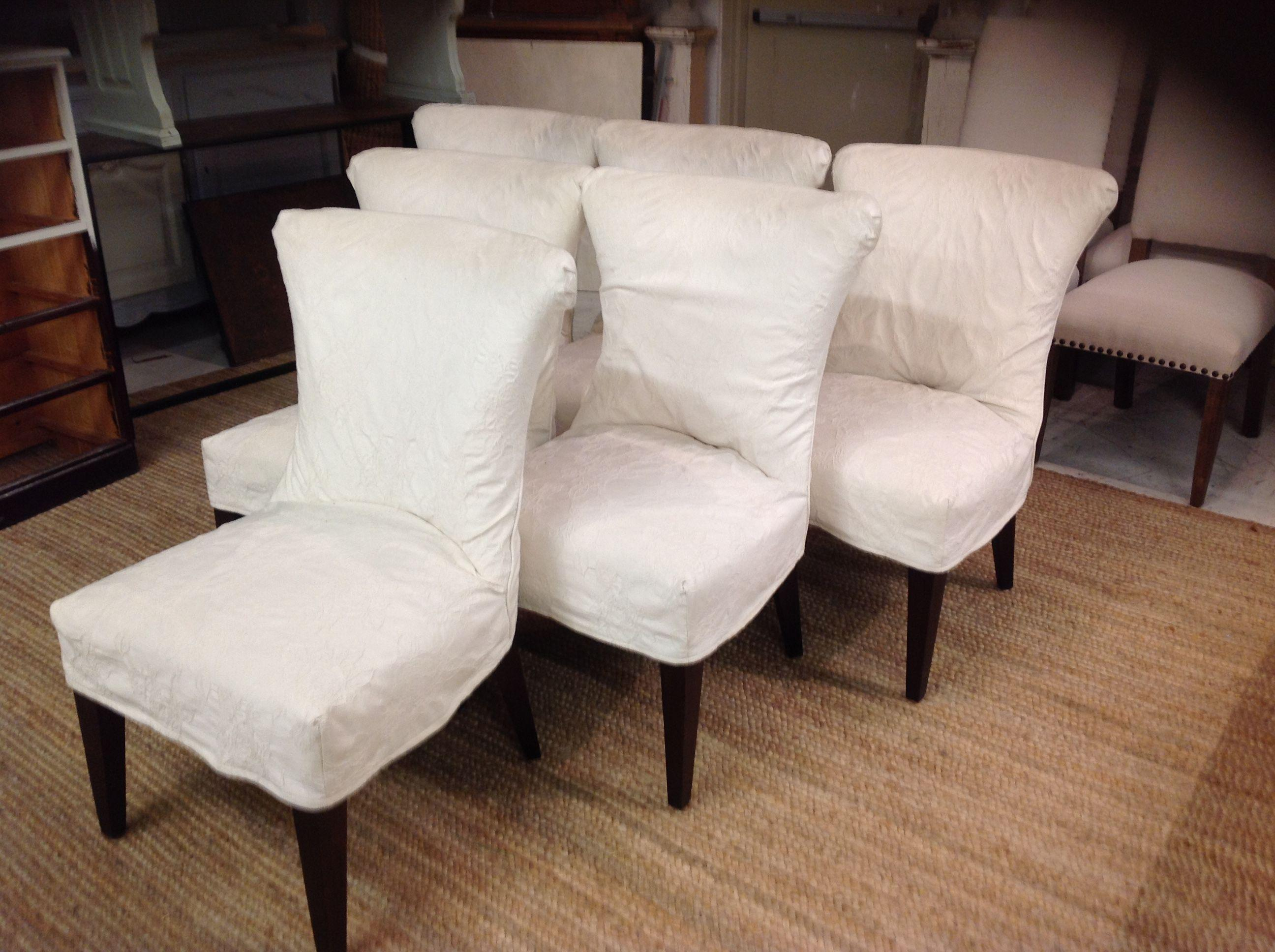 Lee Industries Slipcover Dining Chairs  Set of 6  Chairish