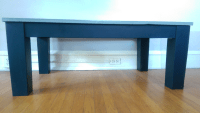 Navy Blue Glass Top Coffee Table | Chairish