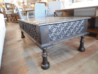 Moroccan Style Carved Wood Coffee Table | Chairish