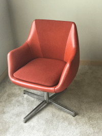 Mid-Century Red Upholstered Herman Miller Side Chair c ...