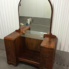 Hickory Chair Vanity Stool Steel With Handle 1930's Waterfall Mirror & | Chairish
