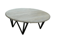 Solid Wood Low Round Coffee Table With Iron Legs | Chairish