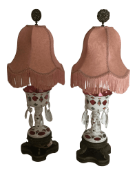 Mantel Lustre Lamps with Cased Glass - A Pair | Chairish