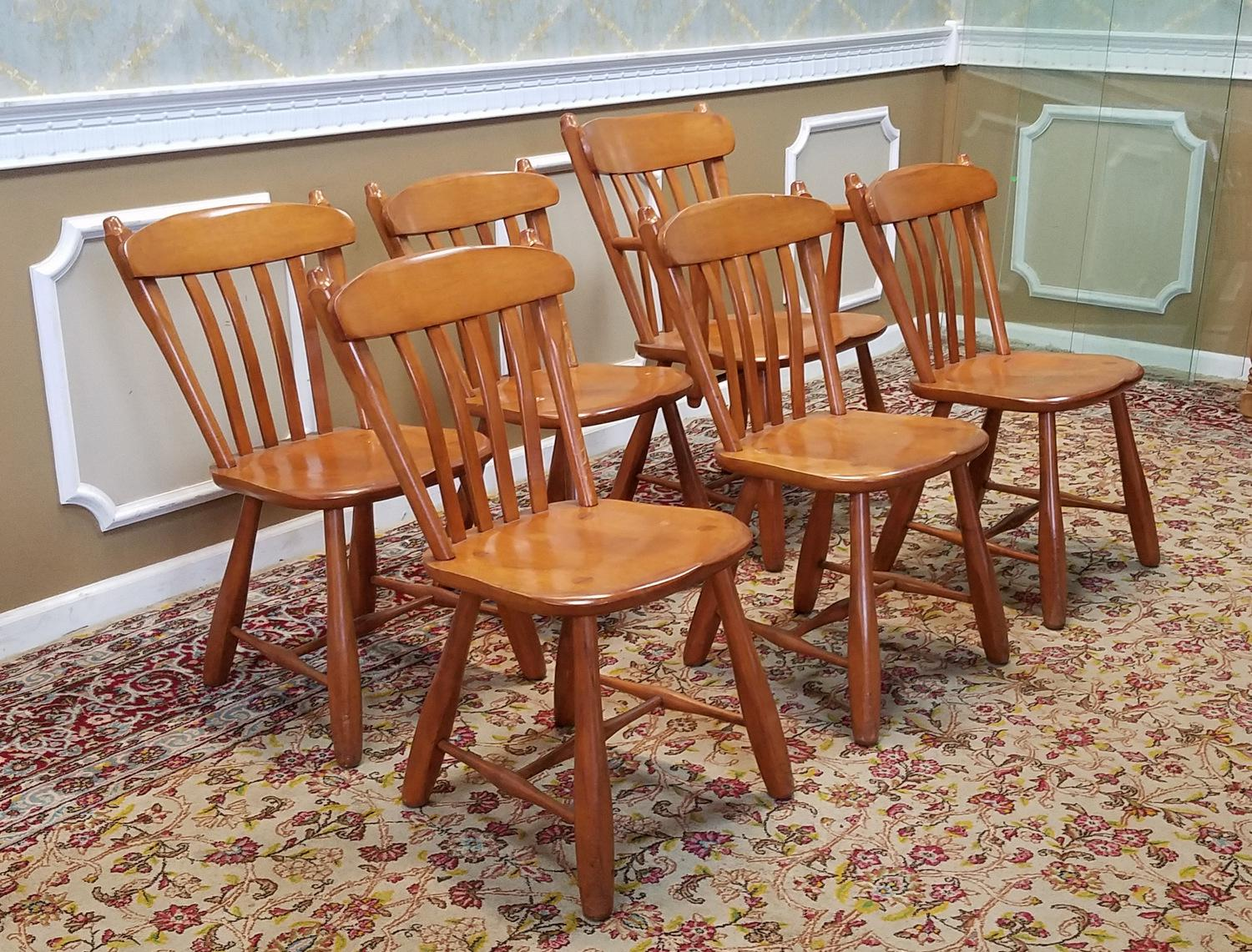 1950s Vintage Winchendon Furniture Solid Rock Maple Old Meeting House Country Dining Chairs
