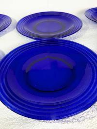 Pyrex Cobalt Blue Glass Ringed Dinnerware - Set of 8 ...