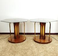 Mid-Century Wood & Glass Coffee & Lighted Side Table - Set ...