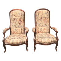 Vintage Victorian High Back Parlor Chairs - A Pair | Chairish