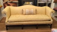 Antique Chippendale Camelback Yellow Damask Sofa | Chairish